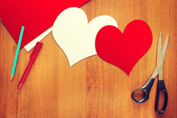 Two paper hearts symbols of love
