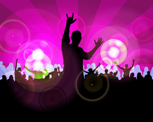 Crowd of dancing people. Vector