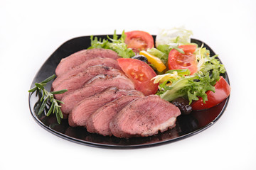 vegetable salad and meat