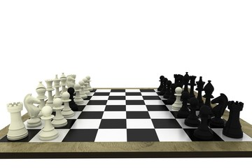 Black and white chess pawns defecting