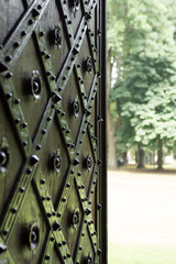 Hammered gate opened to the park