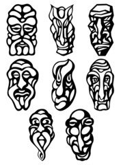 Silhouette tatto monster wooden mask. Vector set