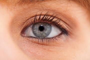 oeil bleu maquillé en gros plan
