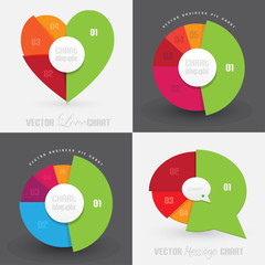 set collection of business pie charts info graphics