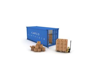 container blu con pacchi e tranpallet 3