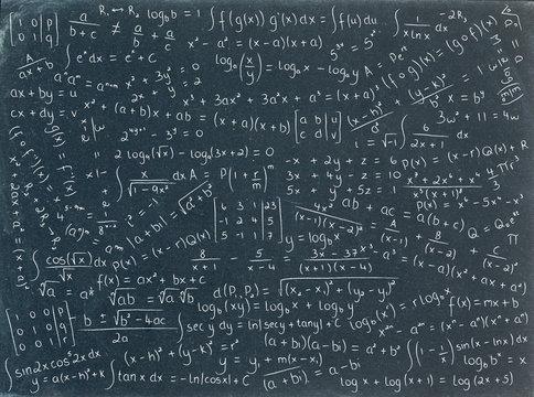 MATHEMATICAL EQUATIONS ON BLACKBOARD (math maths formulae)