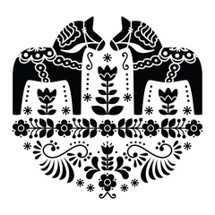 Swedish Dala or Daleclarian horse folk pattern in black