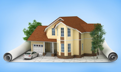 construction plan with house and wood 3d