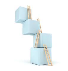 Cubes with ladder. Progress concept. 3d render
