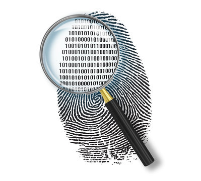 Magnifying glass over finger printlike shape made of binary code