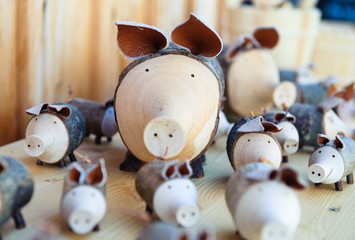 Cute wooden pigs