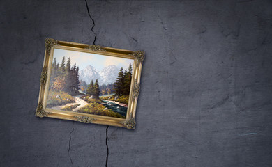 Painting on Cracked wall