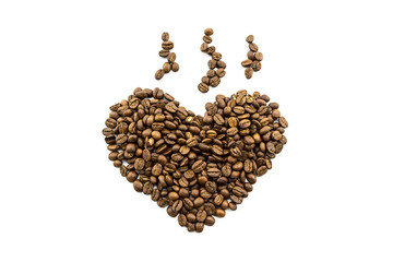 Brown roasted coffee beans heart shaped.