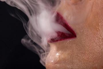 Beauty red lips smoking