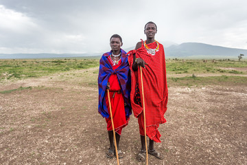Two young Maasai live in Maasai Village
