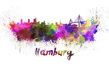 Hamburg skyline in watercolor