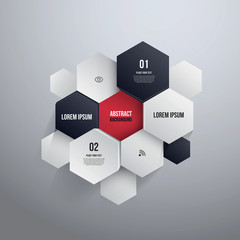 Hexagon Design.can be used for Infographics or website layout