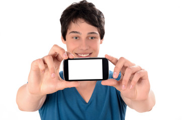 Happy young man taking a selfie photo with his smart phone.
