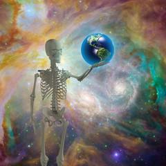 Skeleton holds earth