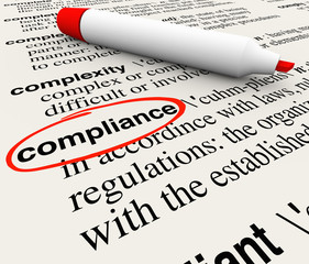 Fototapete - Compliance Word Dictionary Definition Word Meaning
