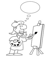 Monochrome outline cartoon artist