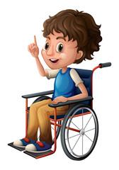 A wheelchair with a boy