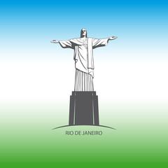 Statue of Jesus Christ in Rio de Janeiro. Vector.