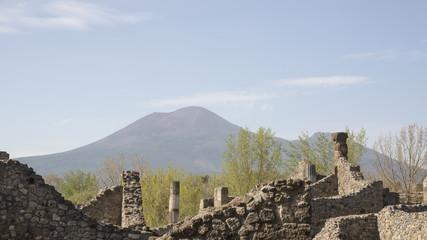 Views of Mount Vesuvius from Pompeii. Italy