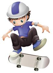 A young boy skating