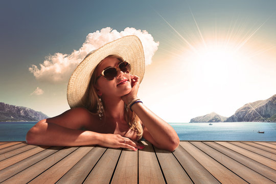 vintage colour girl with sunglasse and straw hat