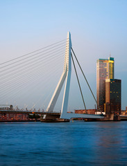 Fototapete - Erasmus Bridge and Maastoren, Rotterdam, The Netherlands