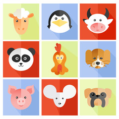 Set of flat animal