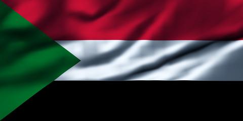 Waving flag, design 1 - Sudan