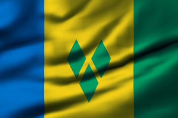 Waving flag, design 1 - Saint Vincent and the Grenadines