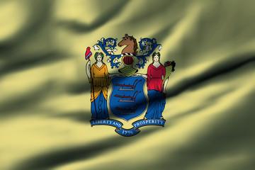 Waving flag, design 1 - New Jersey