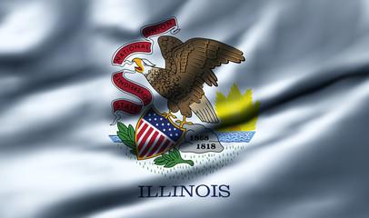 Waving flag, design 1 - Illinois
