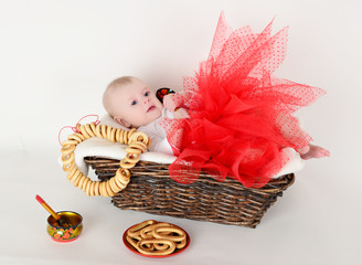 beautiful baby 6 months basket in the Russian style