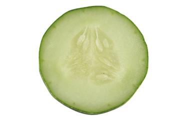 sliced cucumber isolated on white background.