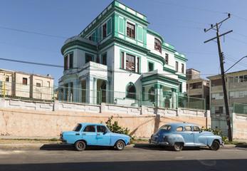 Blue car in Havana