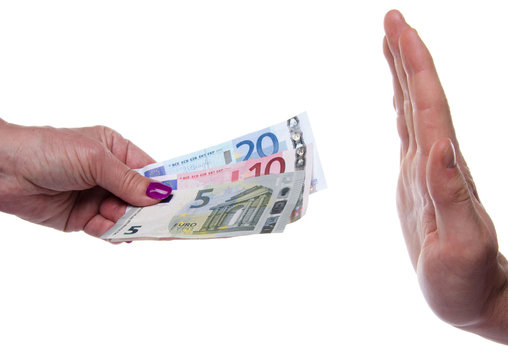 Hand refusing money