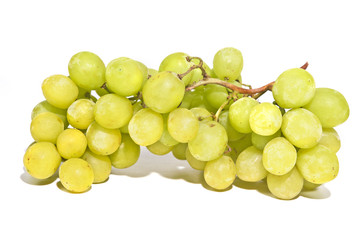 sweet green seedless grapes on vine