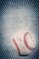 Vintage baseball and blue background