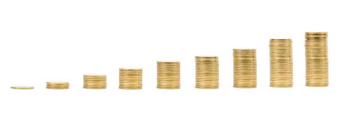 Savings, increasing columns of gold coins isolated on white back