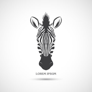 Label with the head of a zebra. Vector.