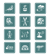 Alpin skiing resort equipment and service icon-set