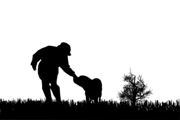 Vector silhouette of woman with dog.