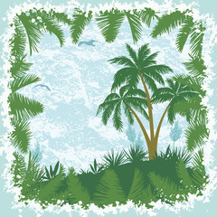 Tropical landscape, palms trees and seagulls