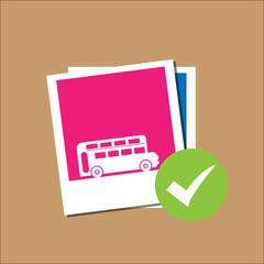 London bus in Polaroid paper frame