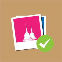 Temple Thailand in Polaroid paper frame
