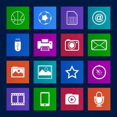 Metro-style collection  of mobile icons set.Vector EPS10